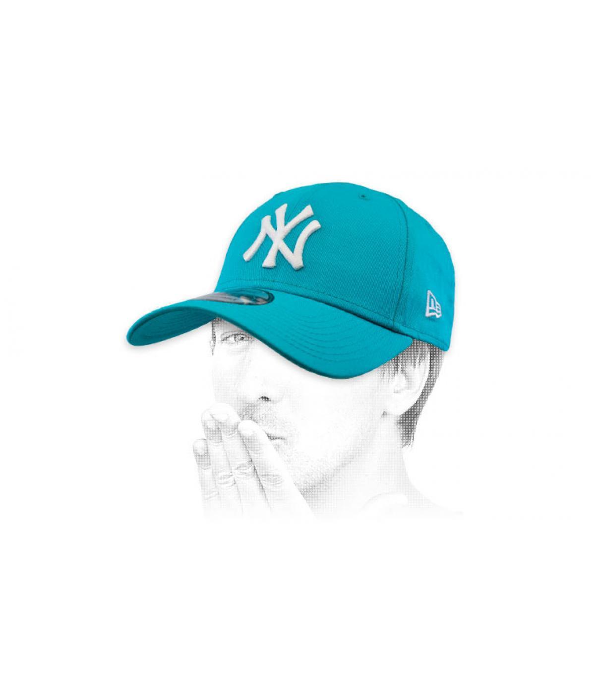 Cap NY blau weiß