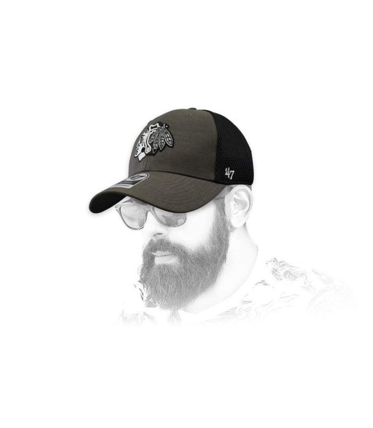 Cap Blackhawks grau schwarz