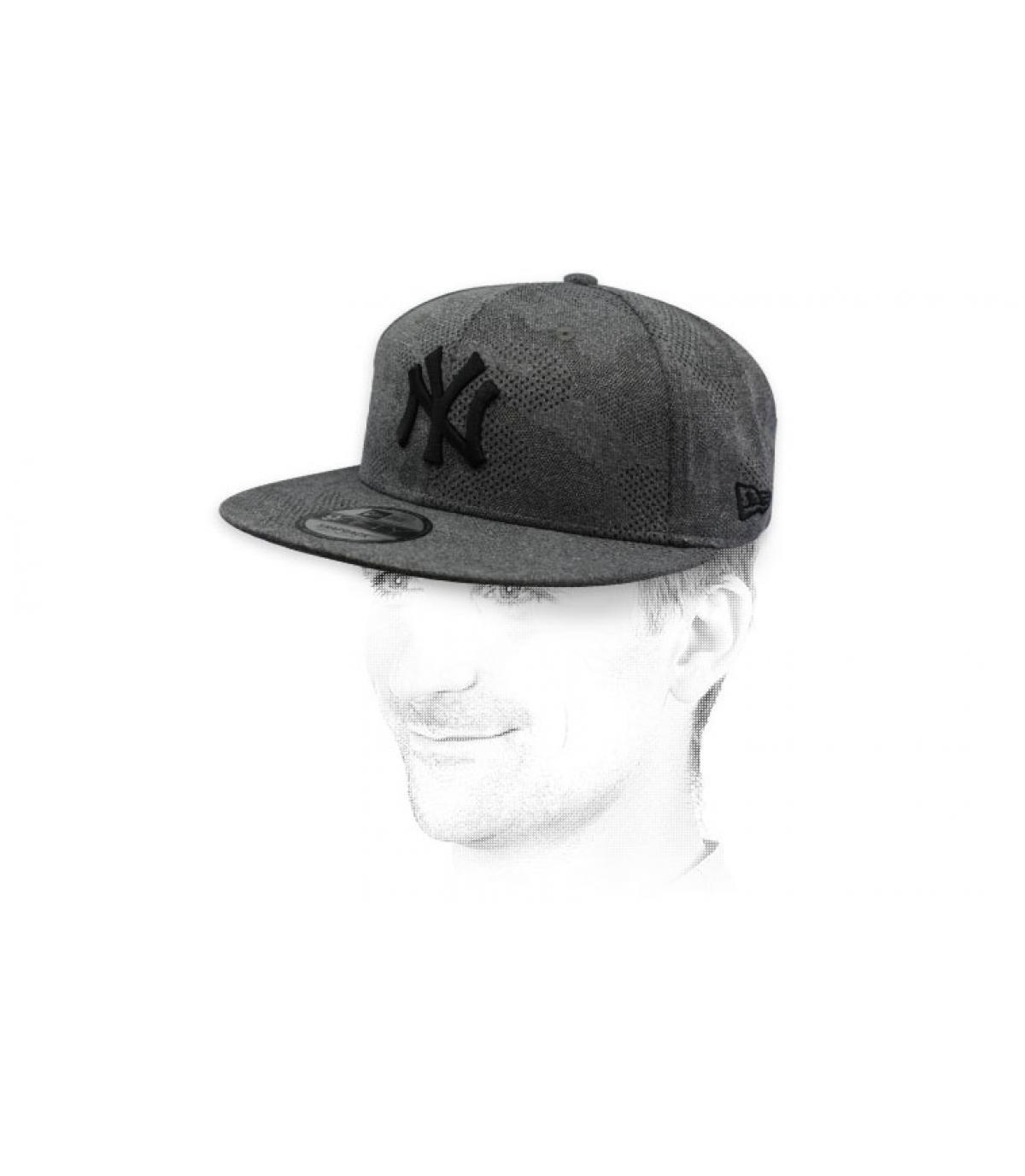 snapback NY grau schwarz