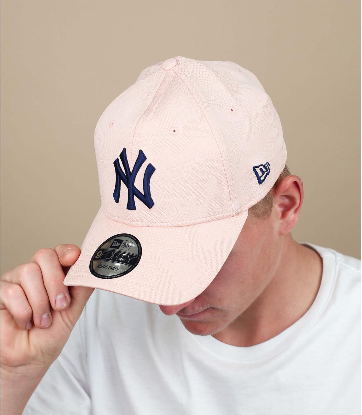 Cap NY rosa blau