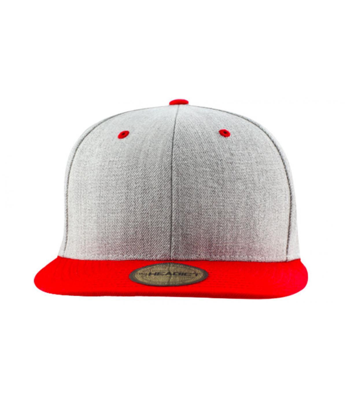 Snapback Blank heather grey red