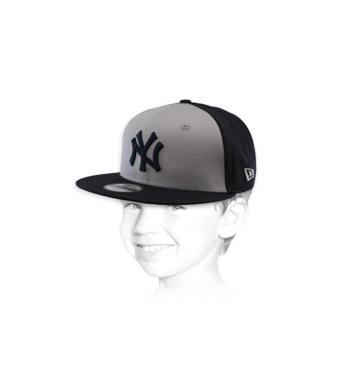 Kinder Snapback NY grau schwarz