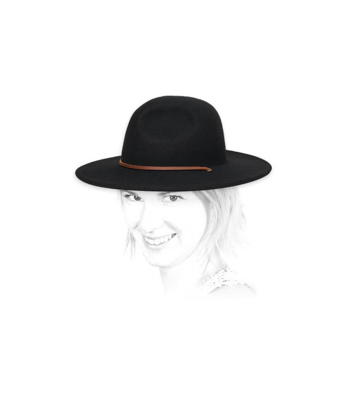 Schwarzer Damen Filz Hut