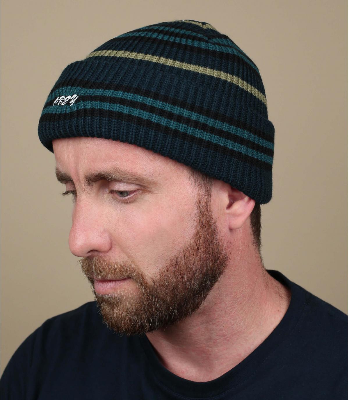 Mütze blau Obey gestreift