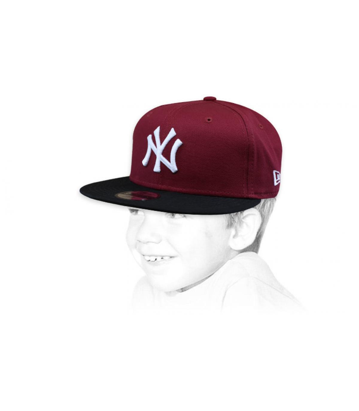 Kinder Cap NY bordeaux schwarz