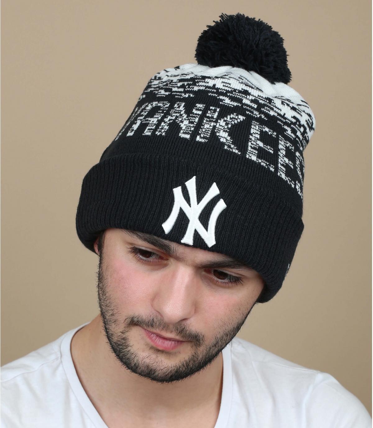 Bommel Mütze blau Yankees