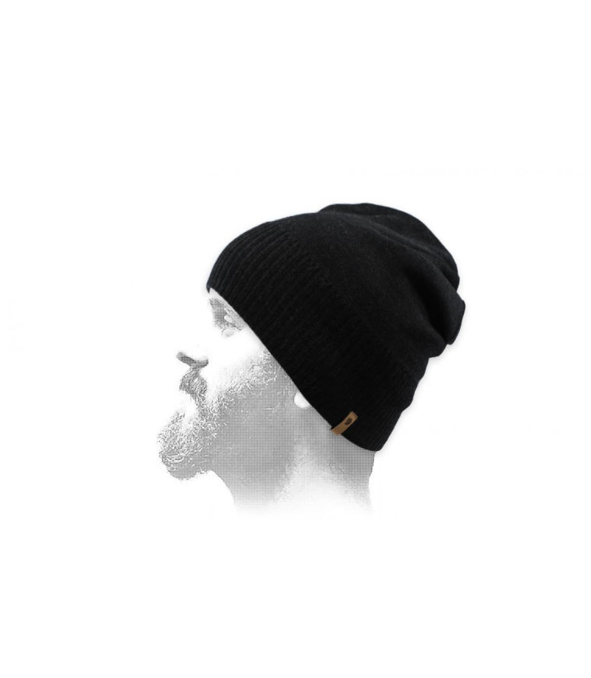 Kurze Mütze schwarz Wolle