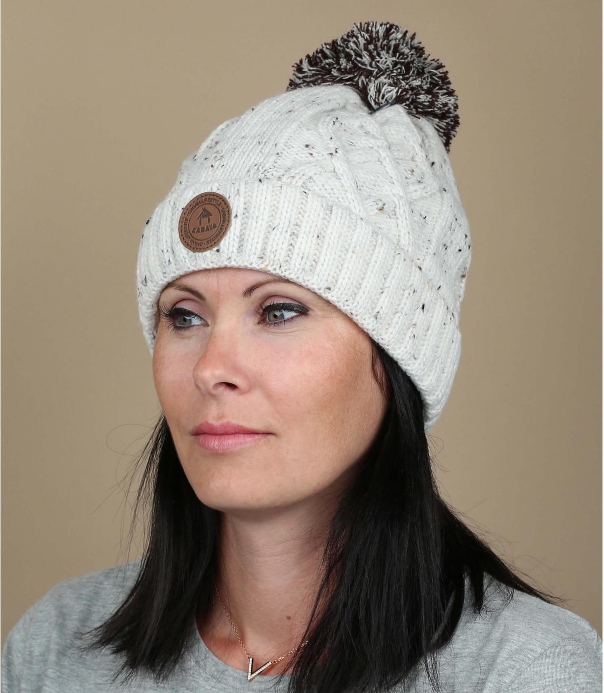 Mütze Pompon weiß Revers