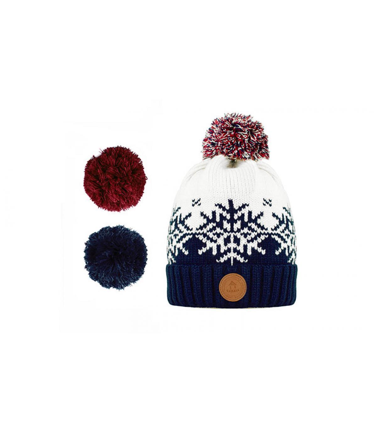 Bommel Mütze Schneeflocke blau