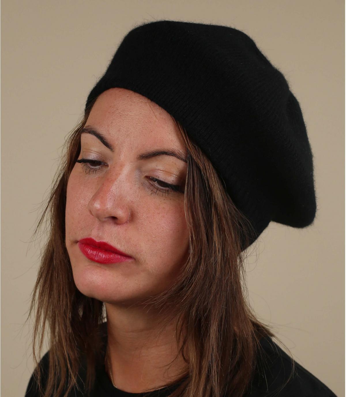 Baskenmütze schwarz Wolle