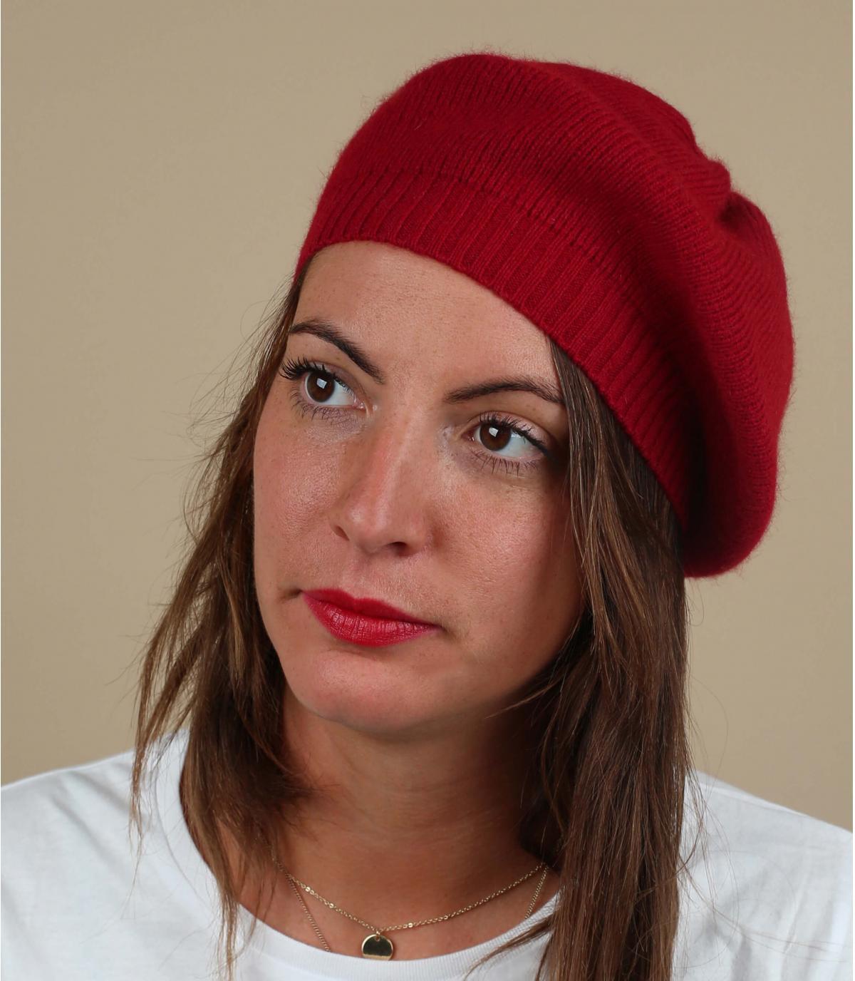Baskenmütze rot Wolle