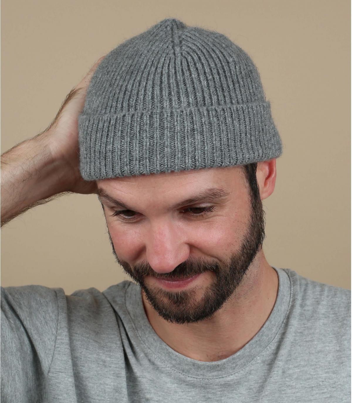 Mütze grau Lammwolle