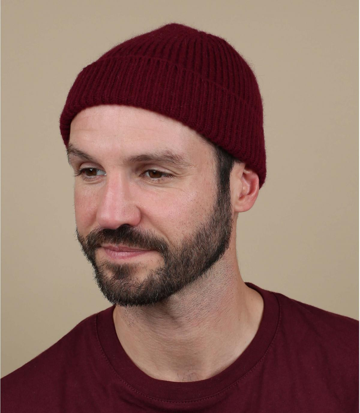 Mütze Rand bordeaux Wolle