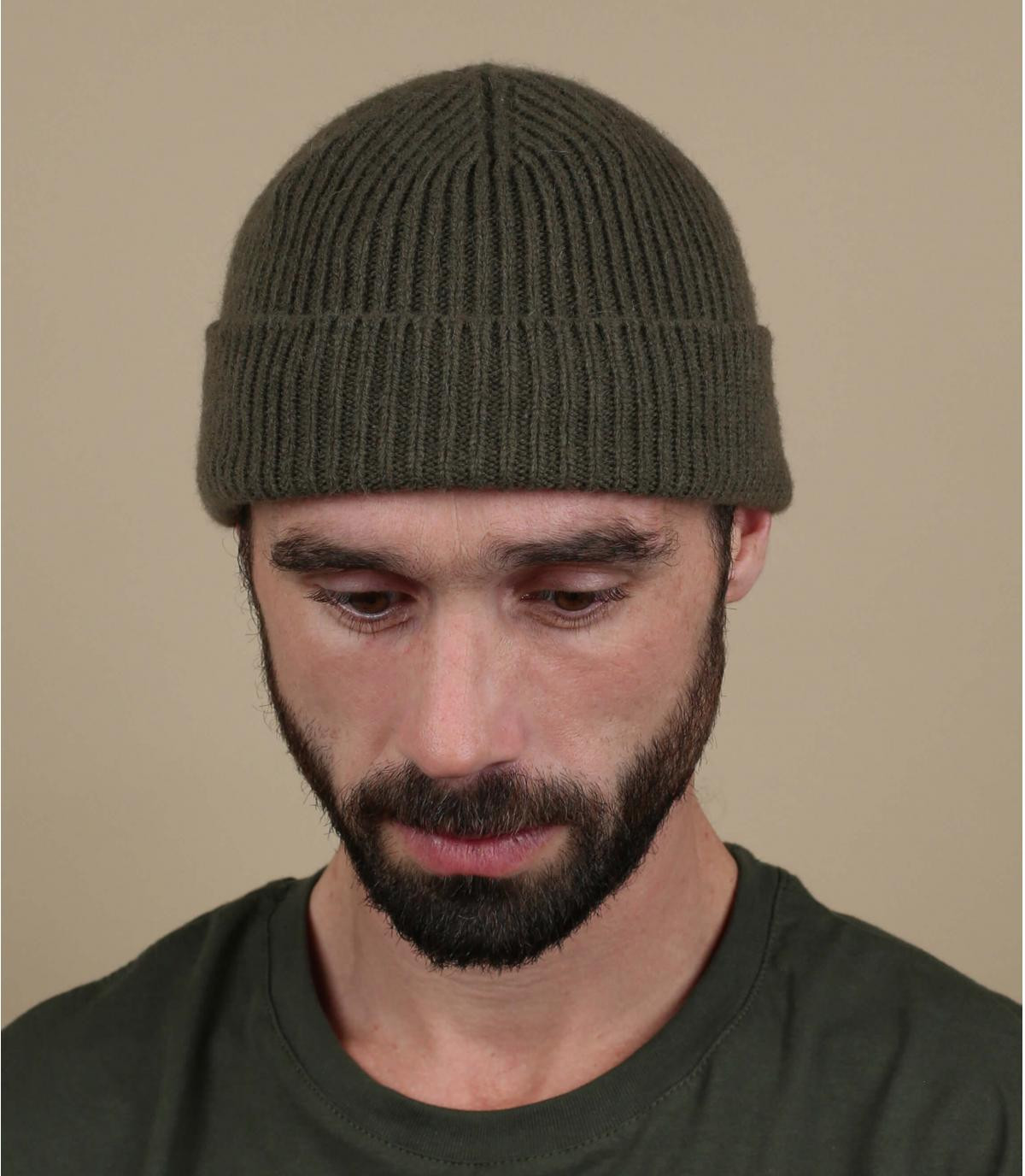 Mütze Rand grün Wolle