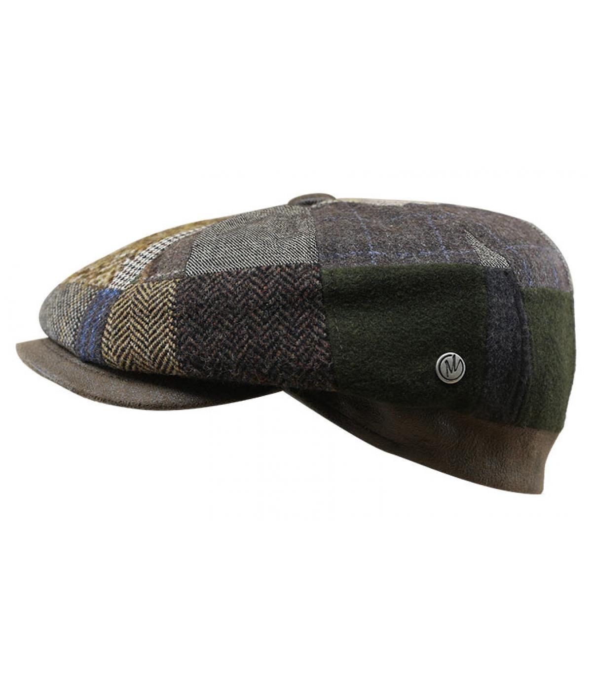Newsboy Cap Wolle Patchwork braun