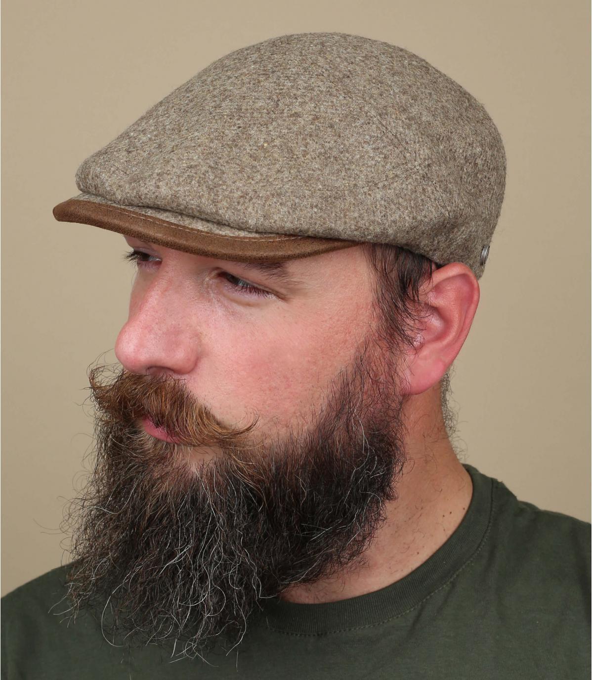 Flat Cap beige Wolle