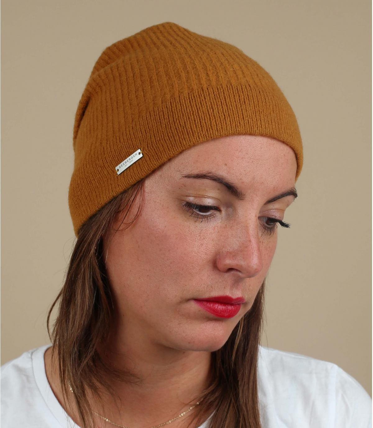 Oversize Mütze gelb Wolle