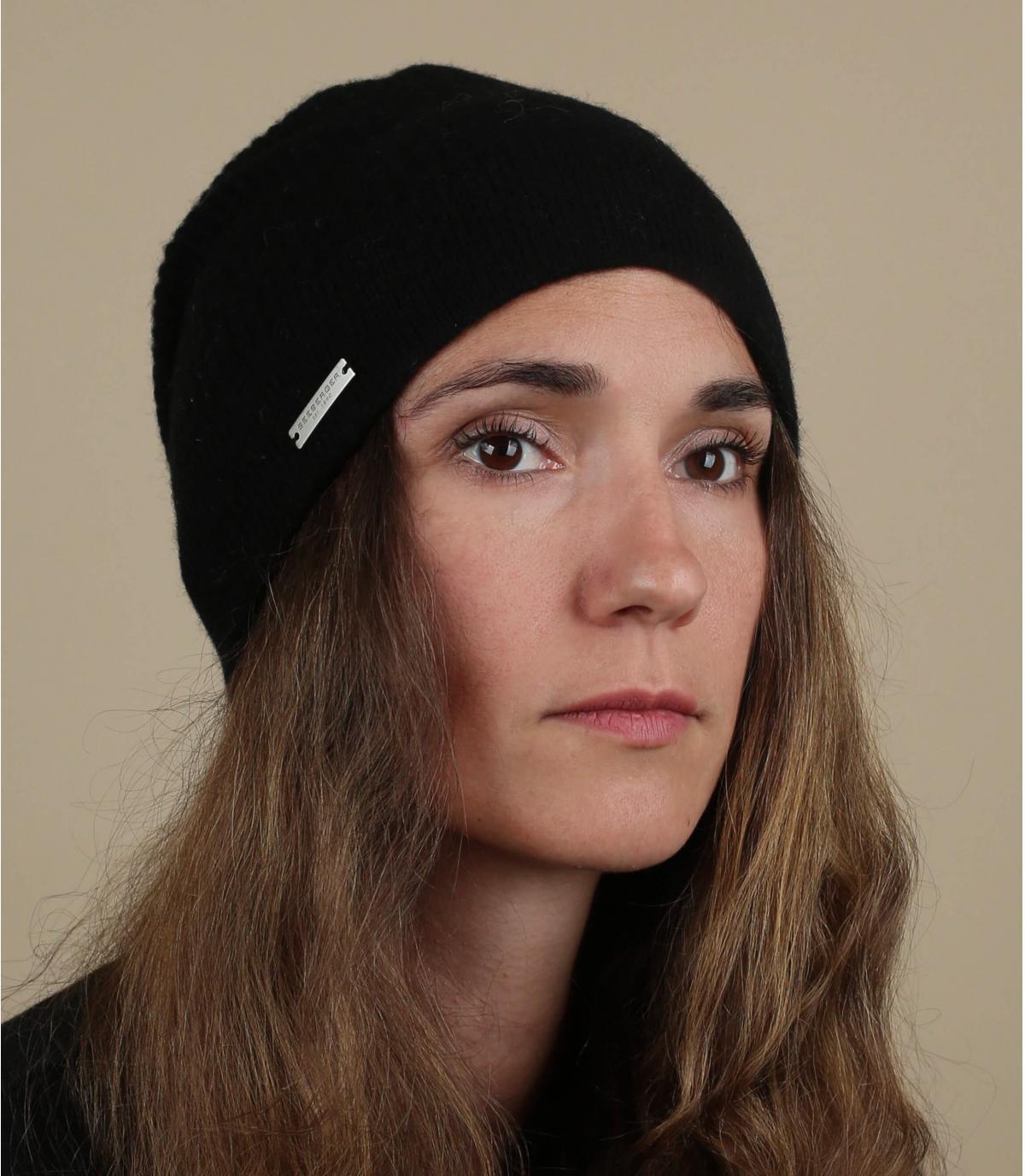 Oversize Mütze schwarz Wolle