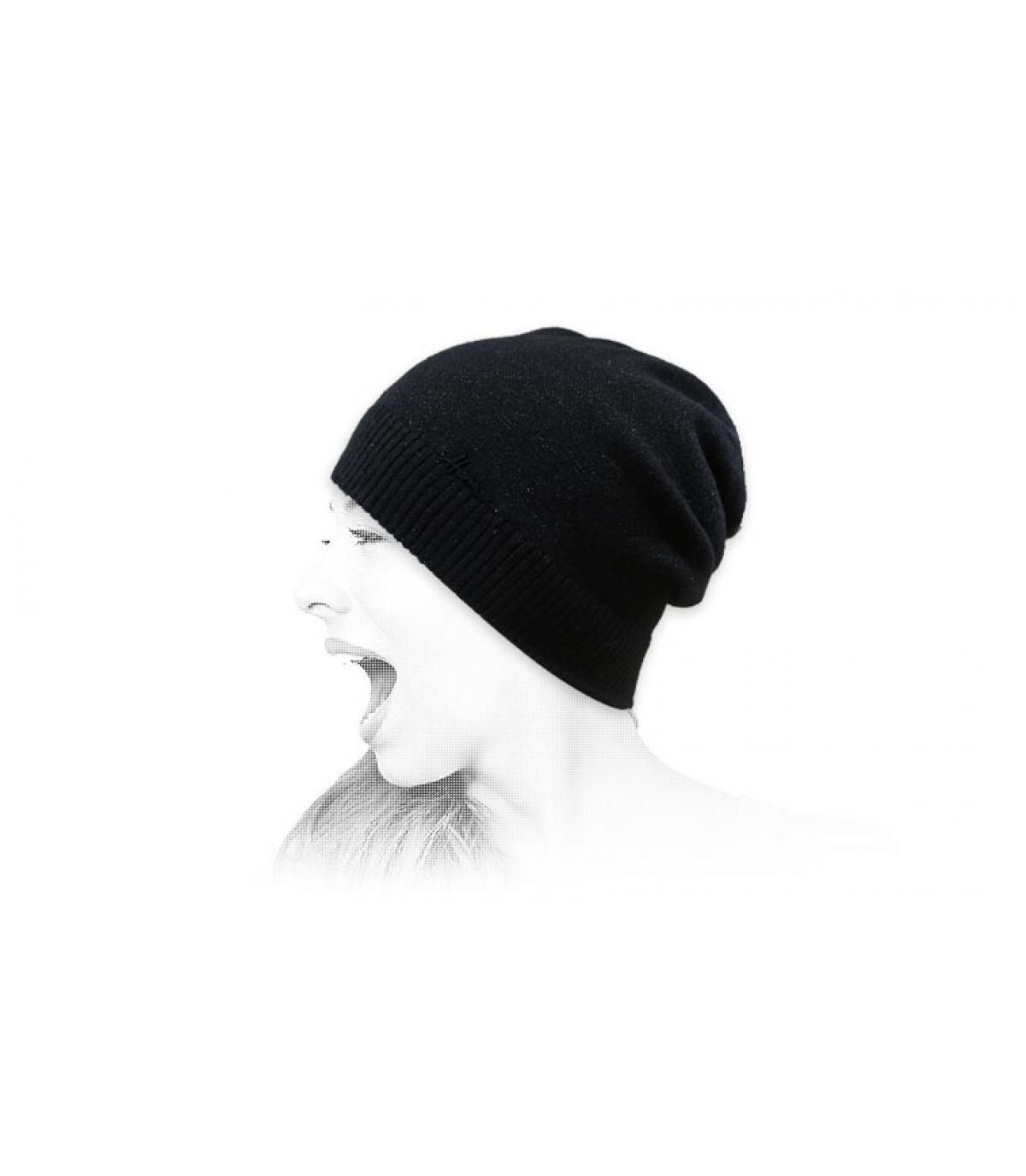 Lange Mütze schwarz lurex