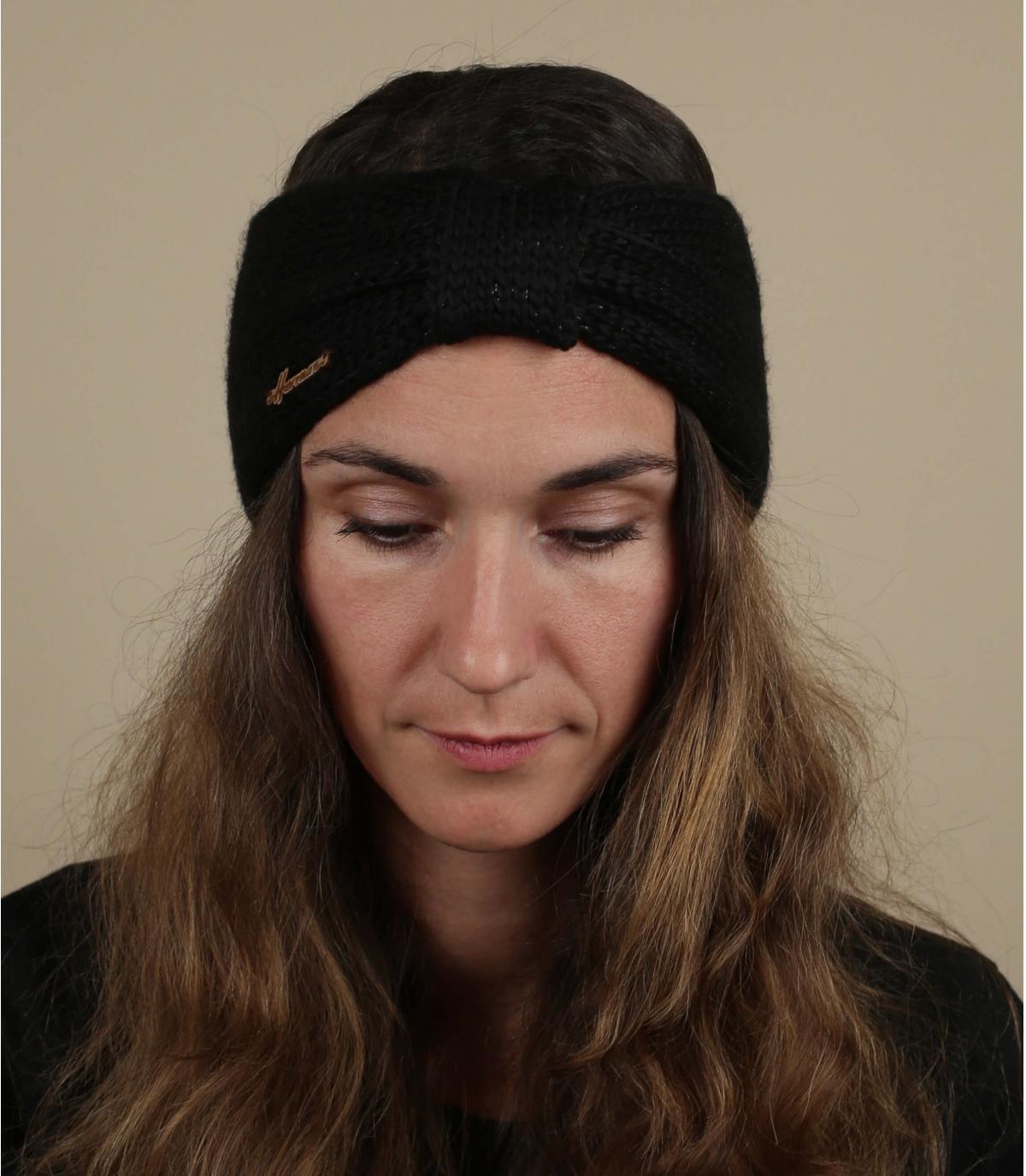 Stirnband schwarz Wolle Lurex