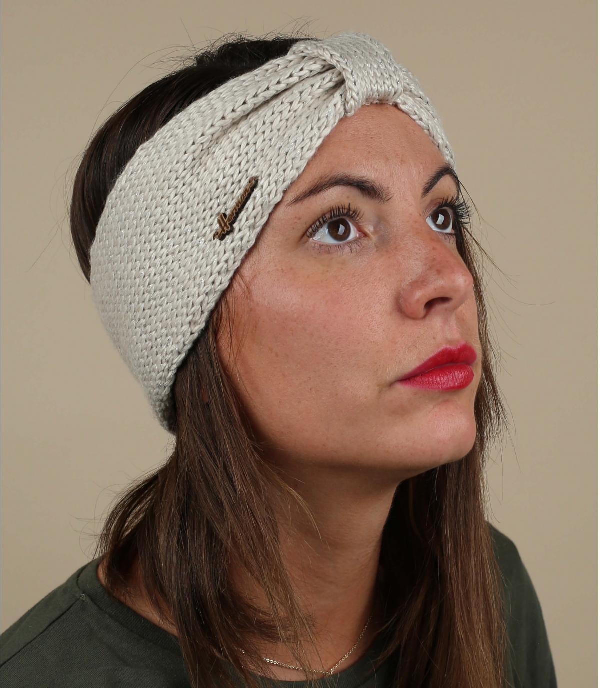 Stirnband beige Wolle Lurex