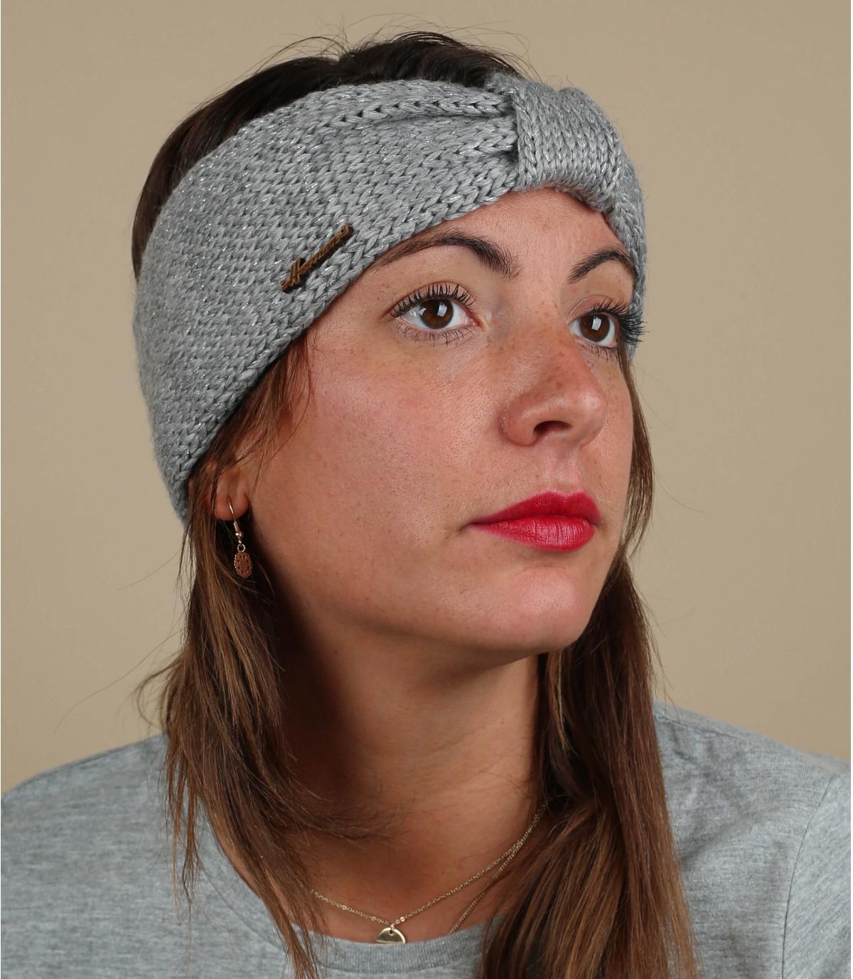 Stirnband grau Wolle Lurex