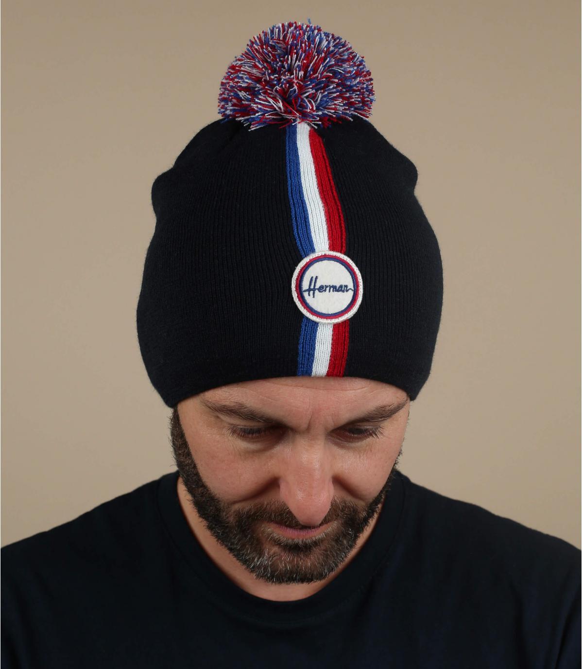 Bommel Mütze blau