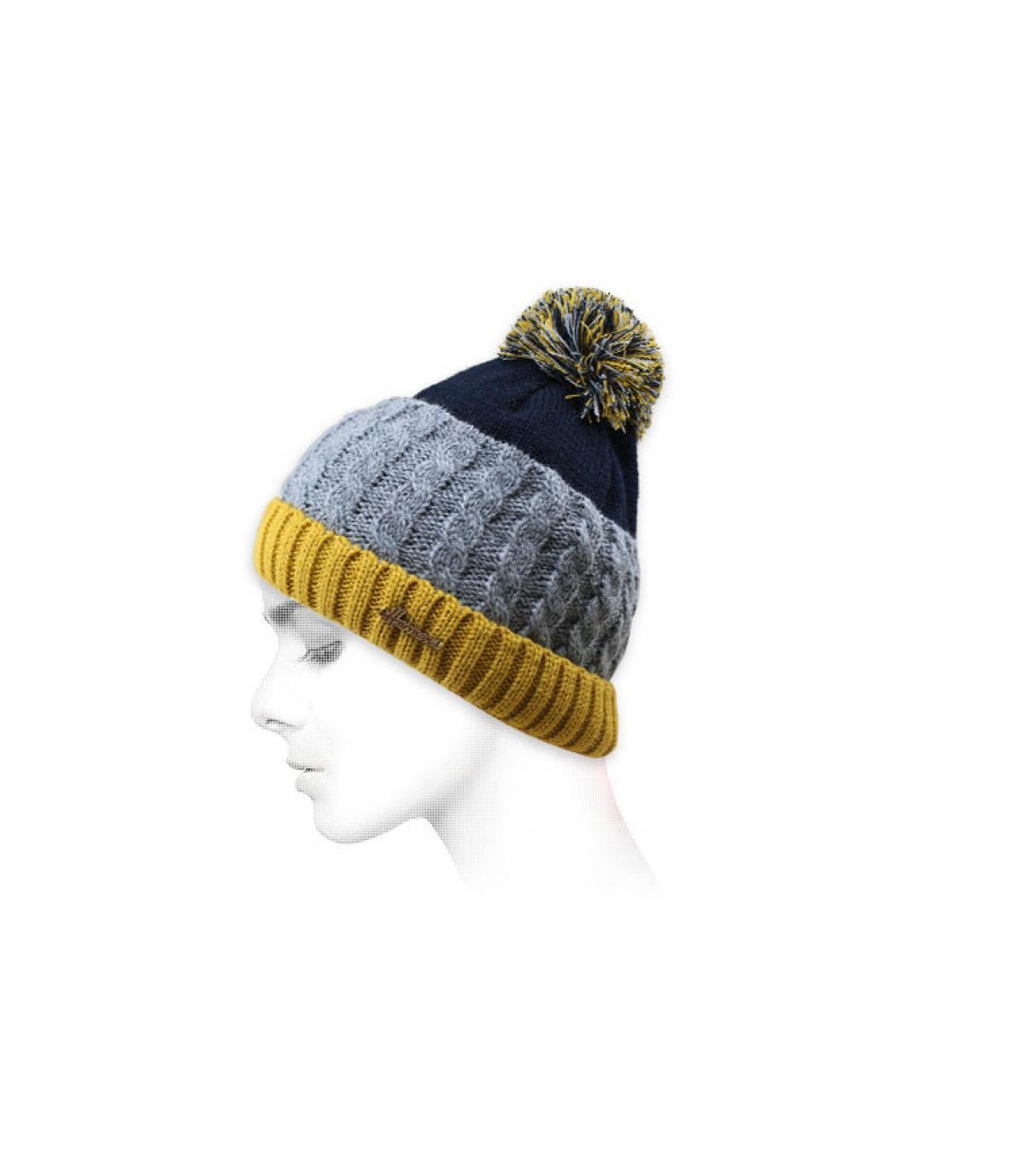 Bommel Mütze blau gelb grau