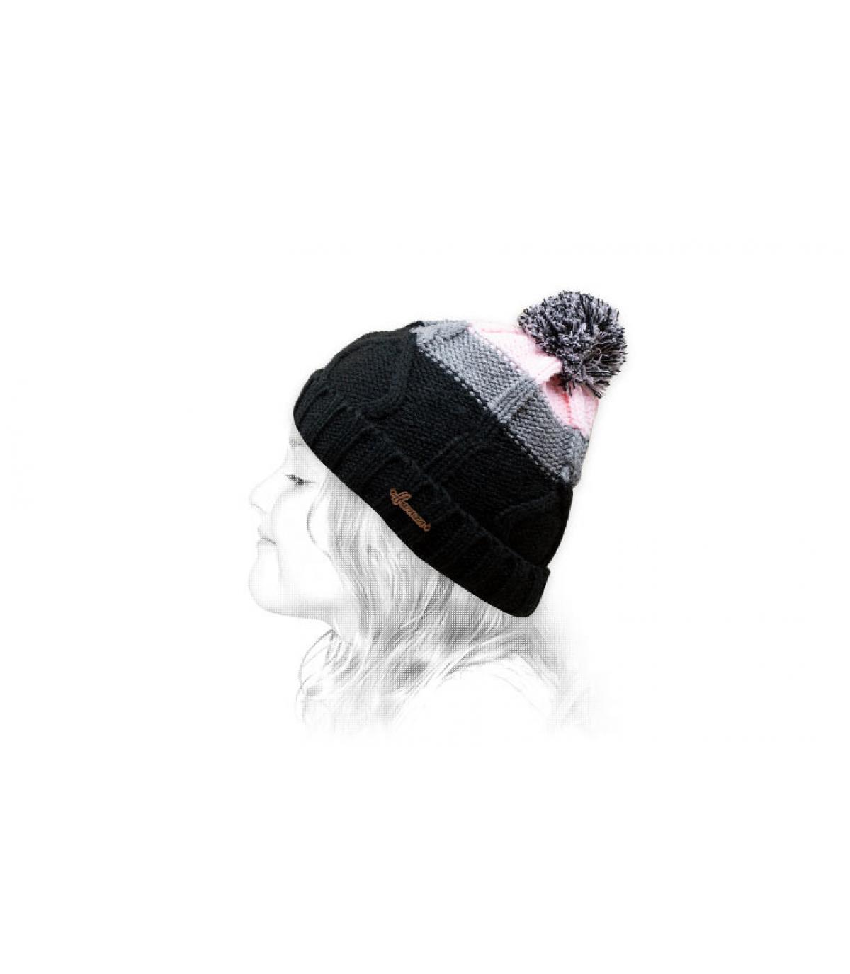 Bommel Mütze schwarz rosa