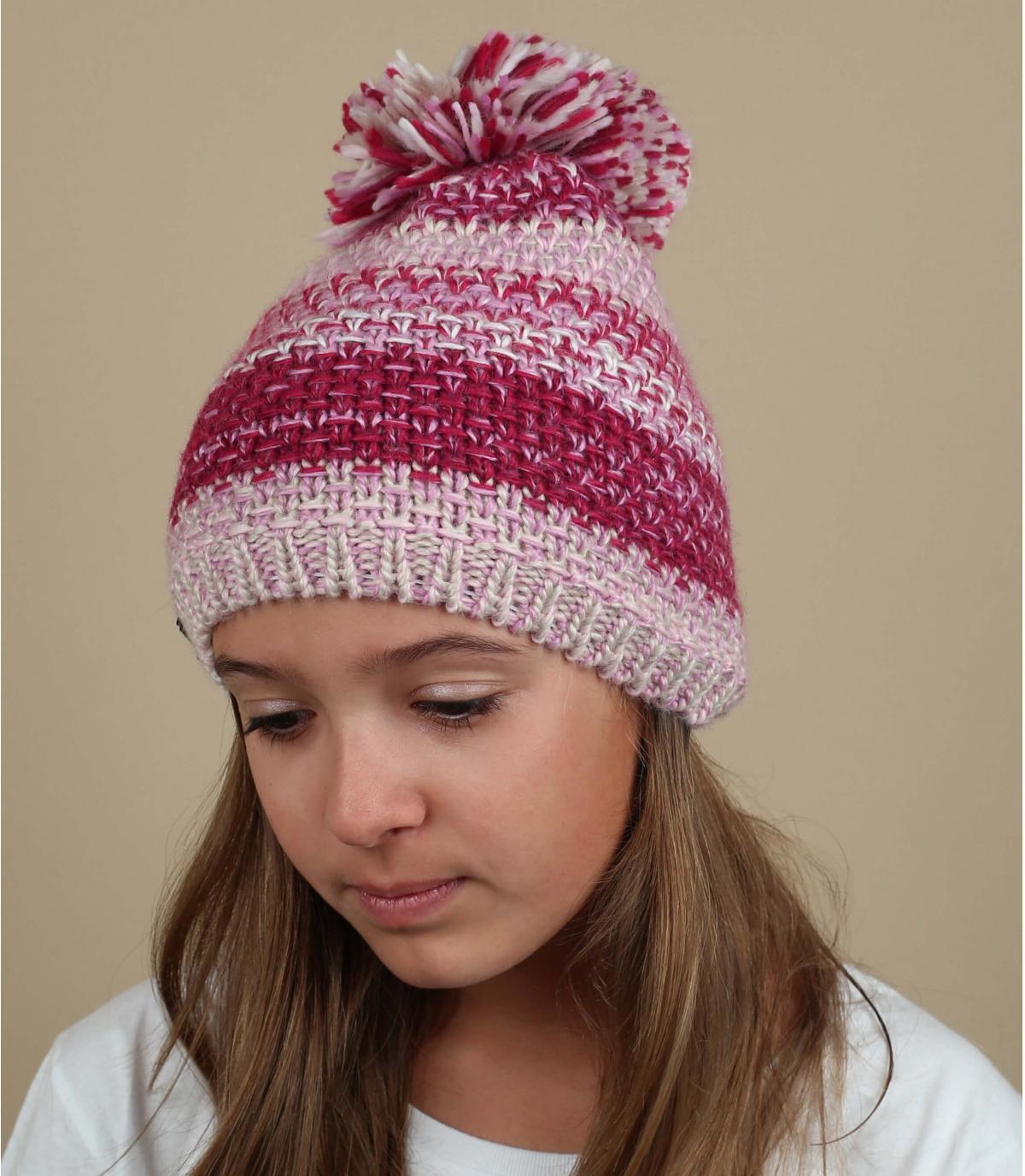 Bommel Mütze rosa Wolle
