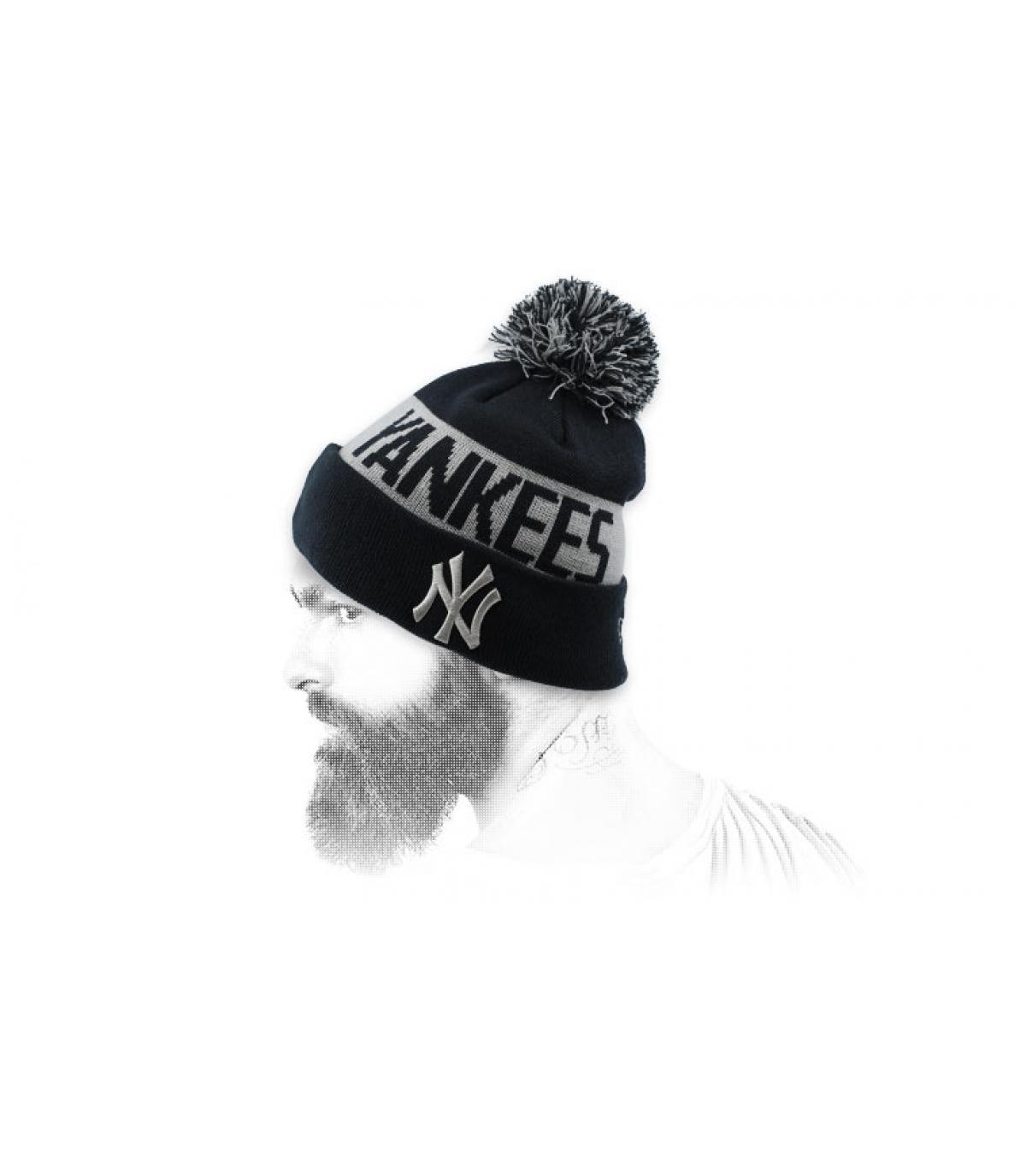 Mütze Rand NY schwarz grau