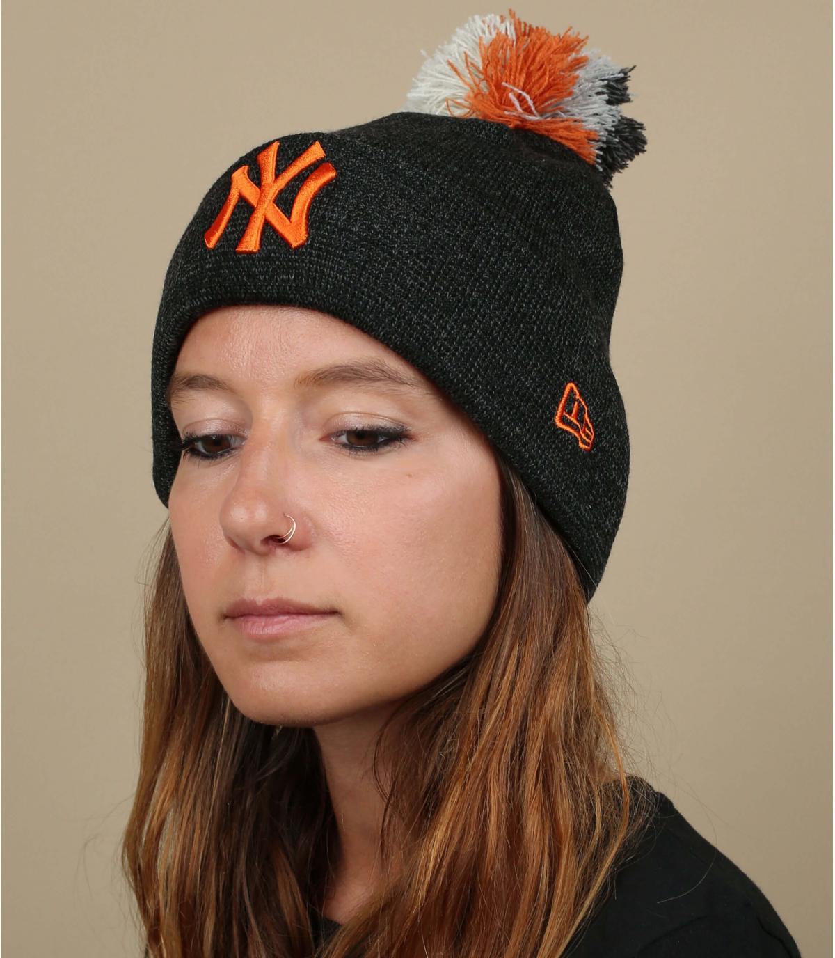 Mütze NY  Damen grau orange