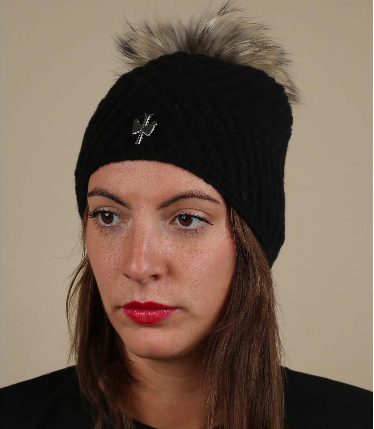 Mütze schwarz Wolle Fellbommel