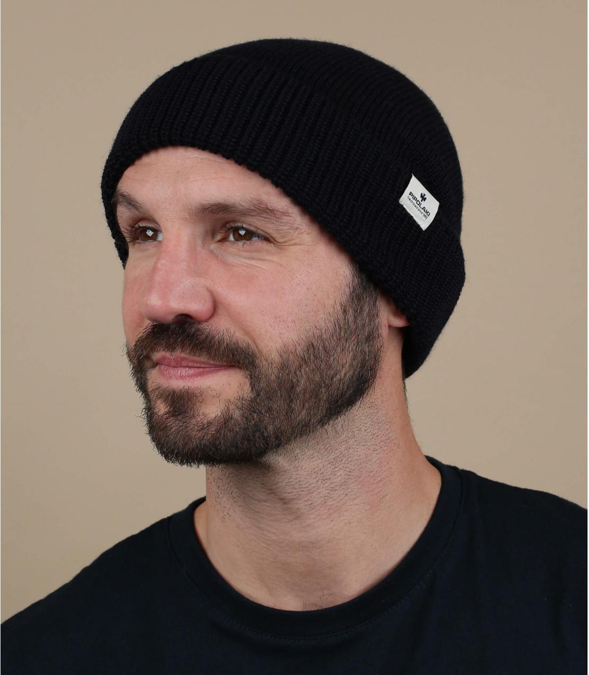 Mütze Rand schwarz Wolle