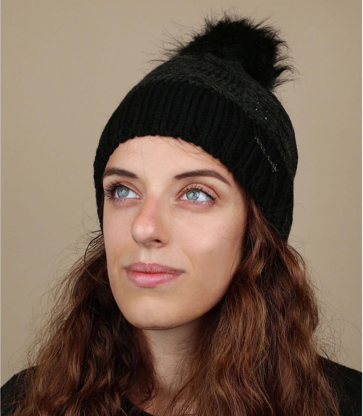 Mütze schwarz Fellbommel