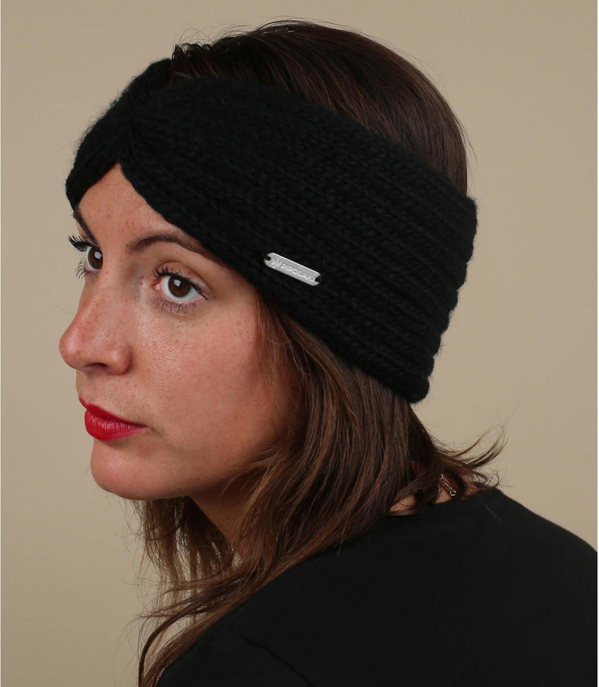 Stirnband schwarz plissiert