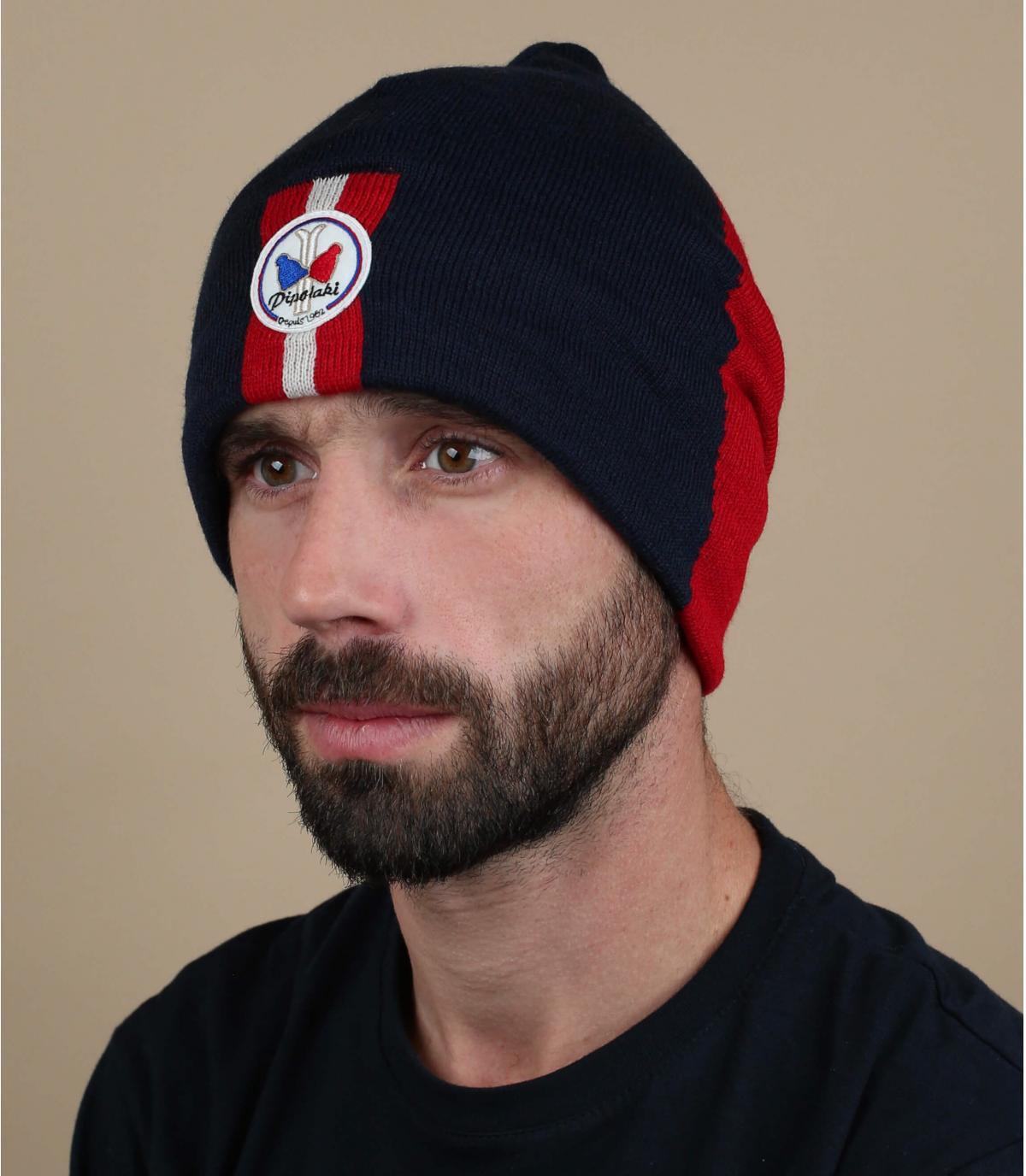 lange Mütze blau rot