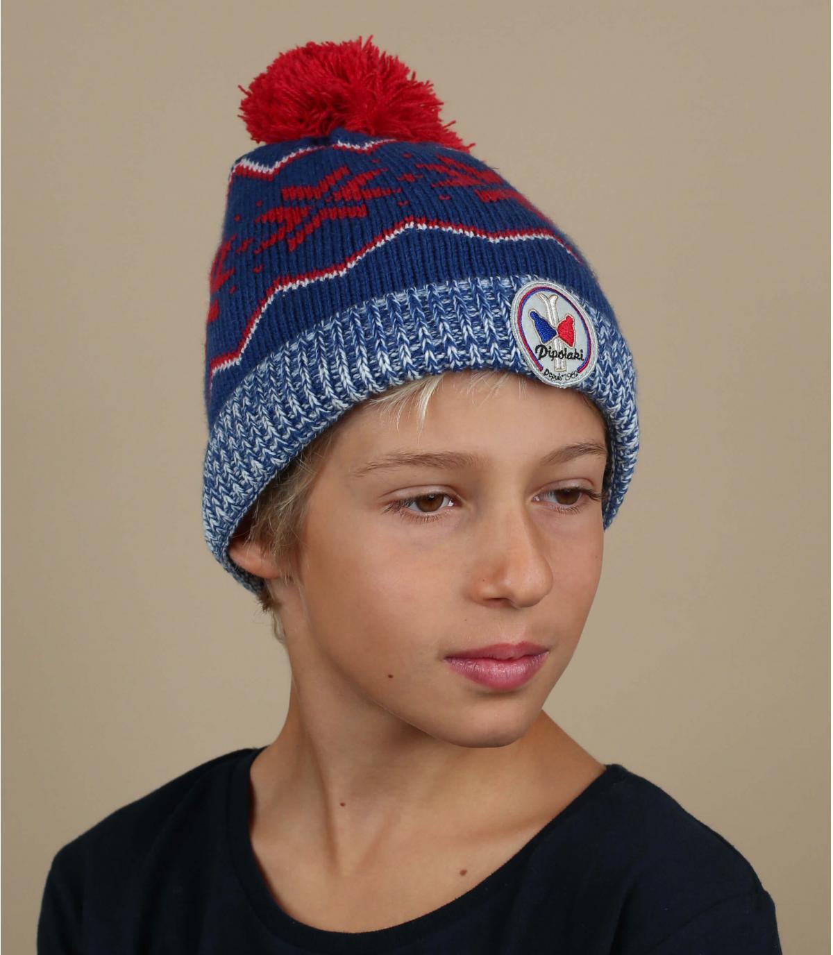 Kinder Mütze blau Motiv