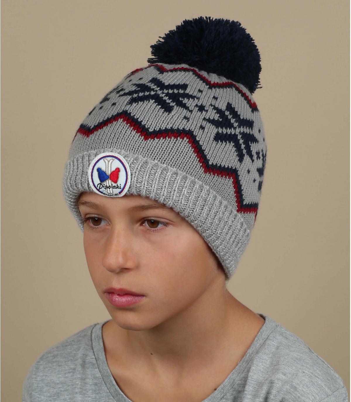 Kinder Mütze grau Motiv