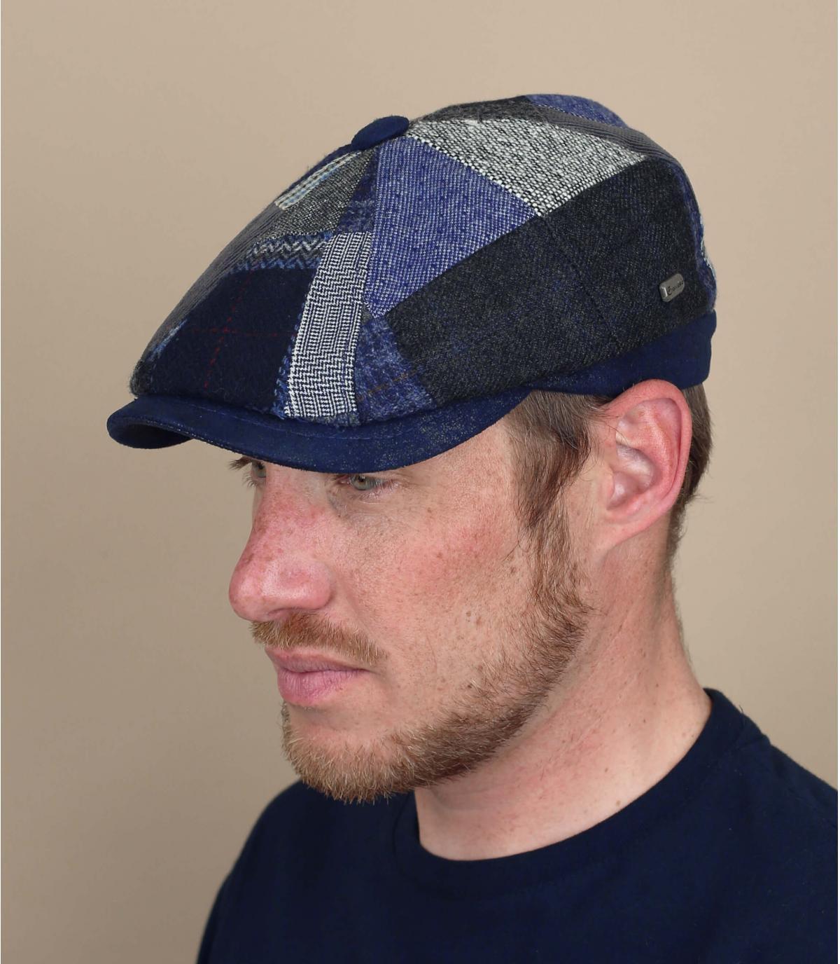 Newsboy Cap Patchwork blau Wolle
