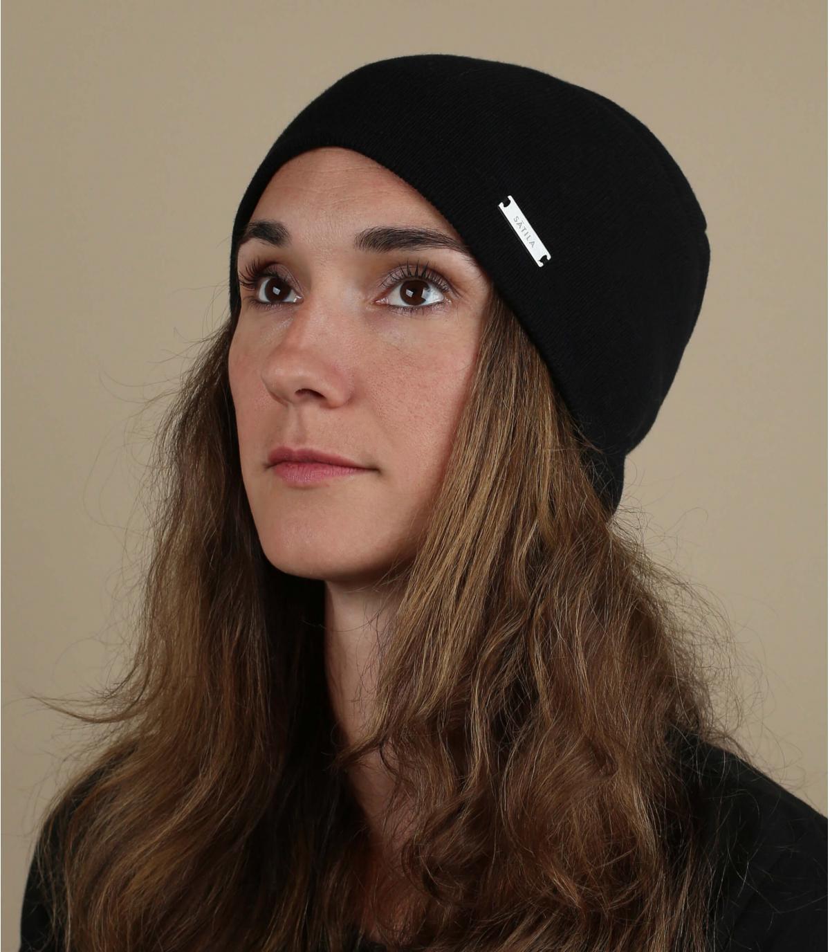 Lange Mütze schwarz Bio Baumwolle