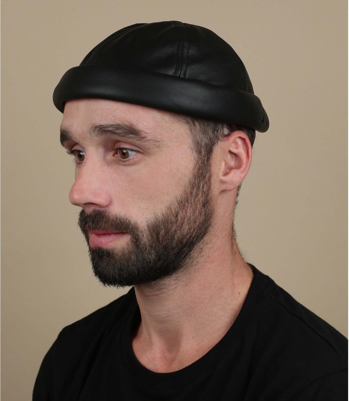 Docker Mütze Leder schwarz