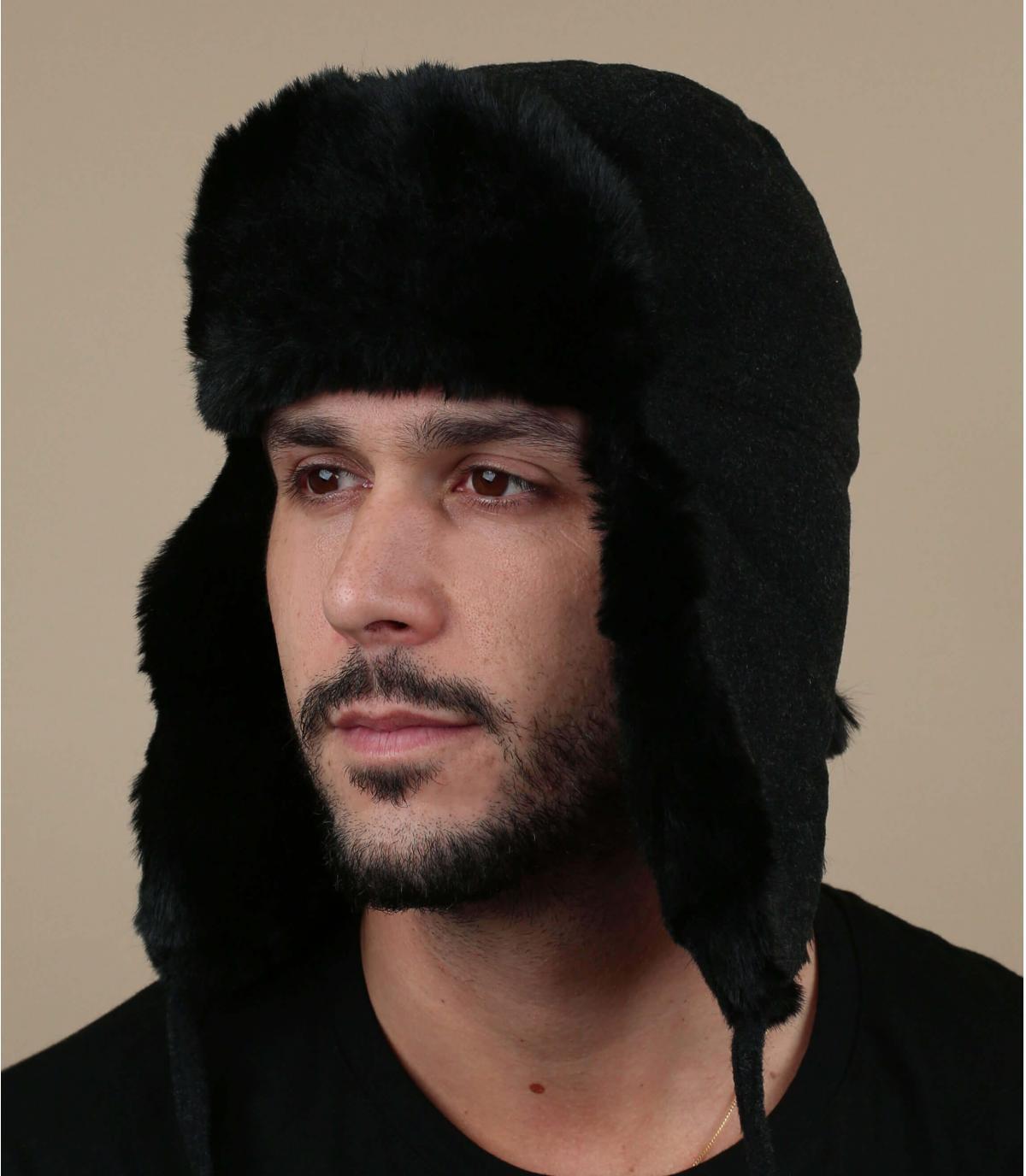 Chapka Fliegermütze grau Wolle Kaschmir