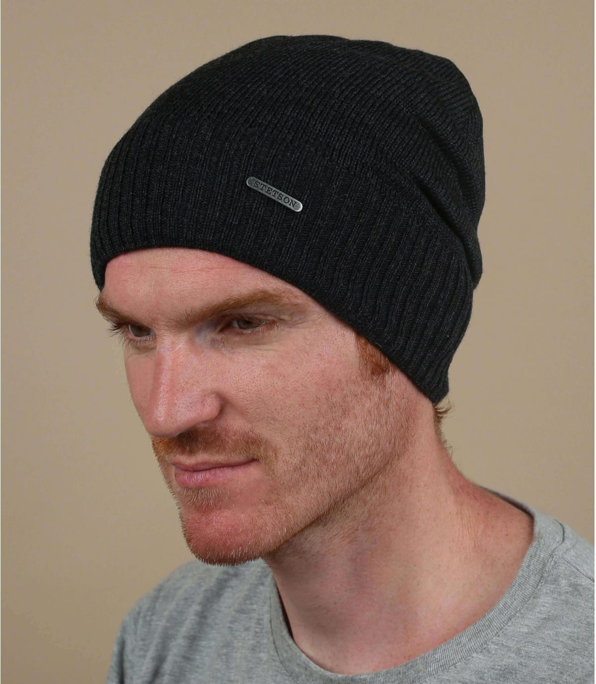 Oversize Mütze grau Wolle