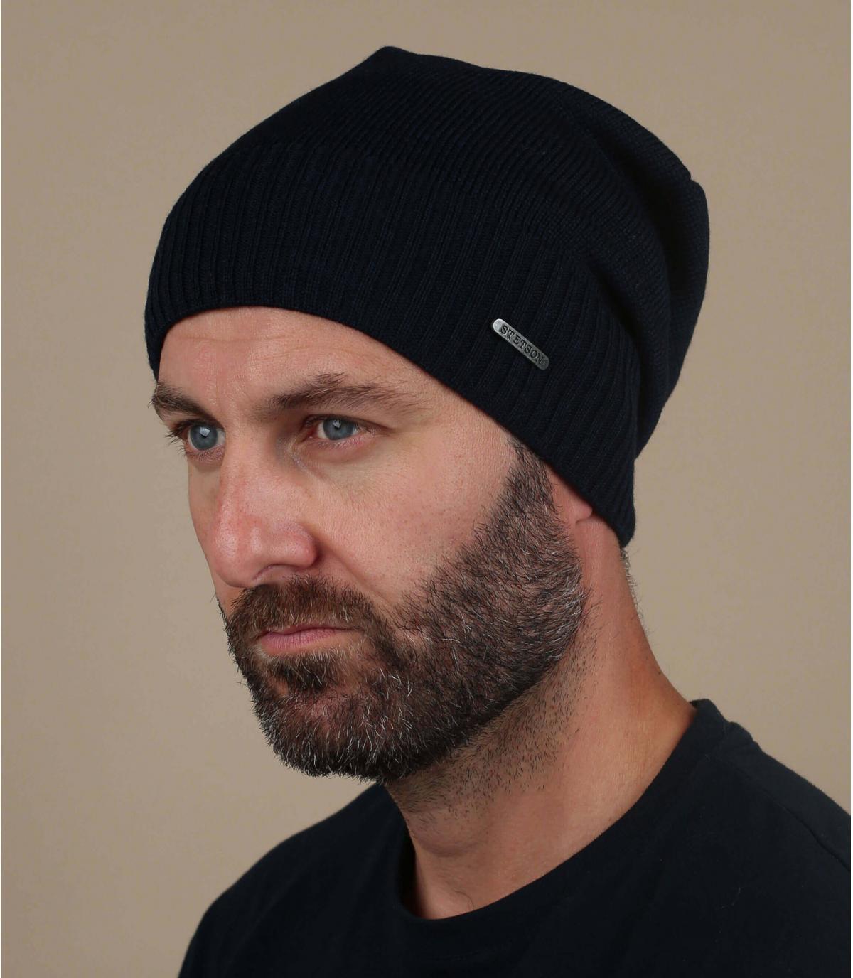 Oversize Mütze blau Wolle