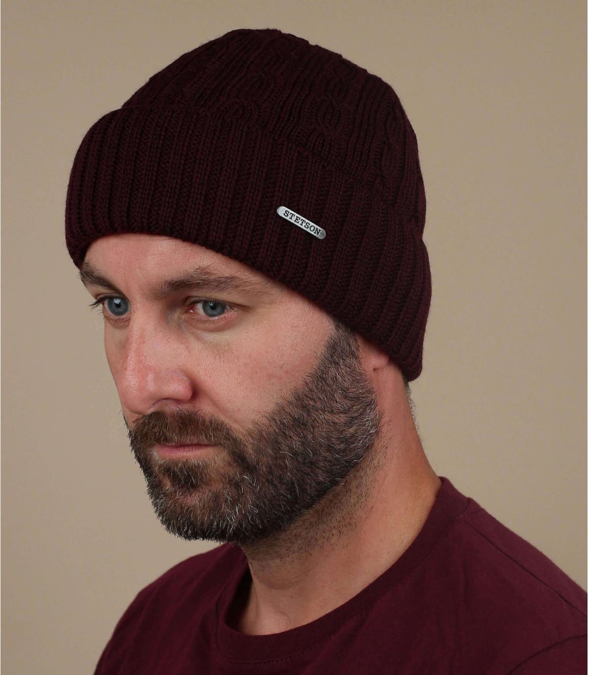 Mütze Revers bordeaux Wolle