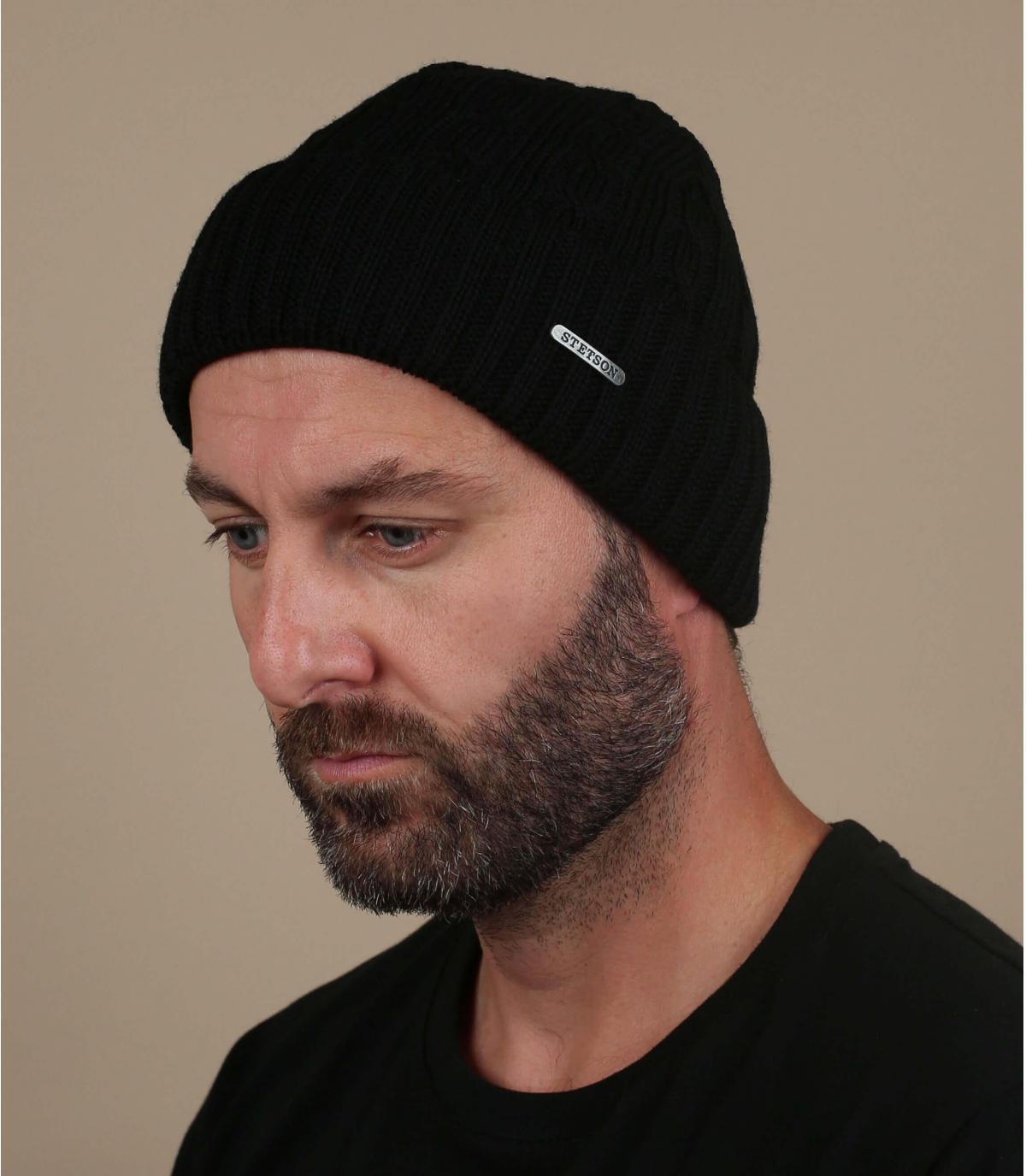Mütze Revers schwarz Wolle