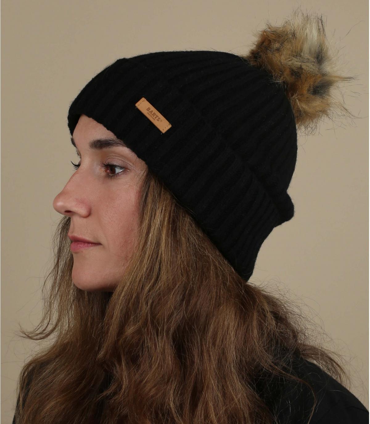 Schwarze Mütze Fellbommel Wolle