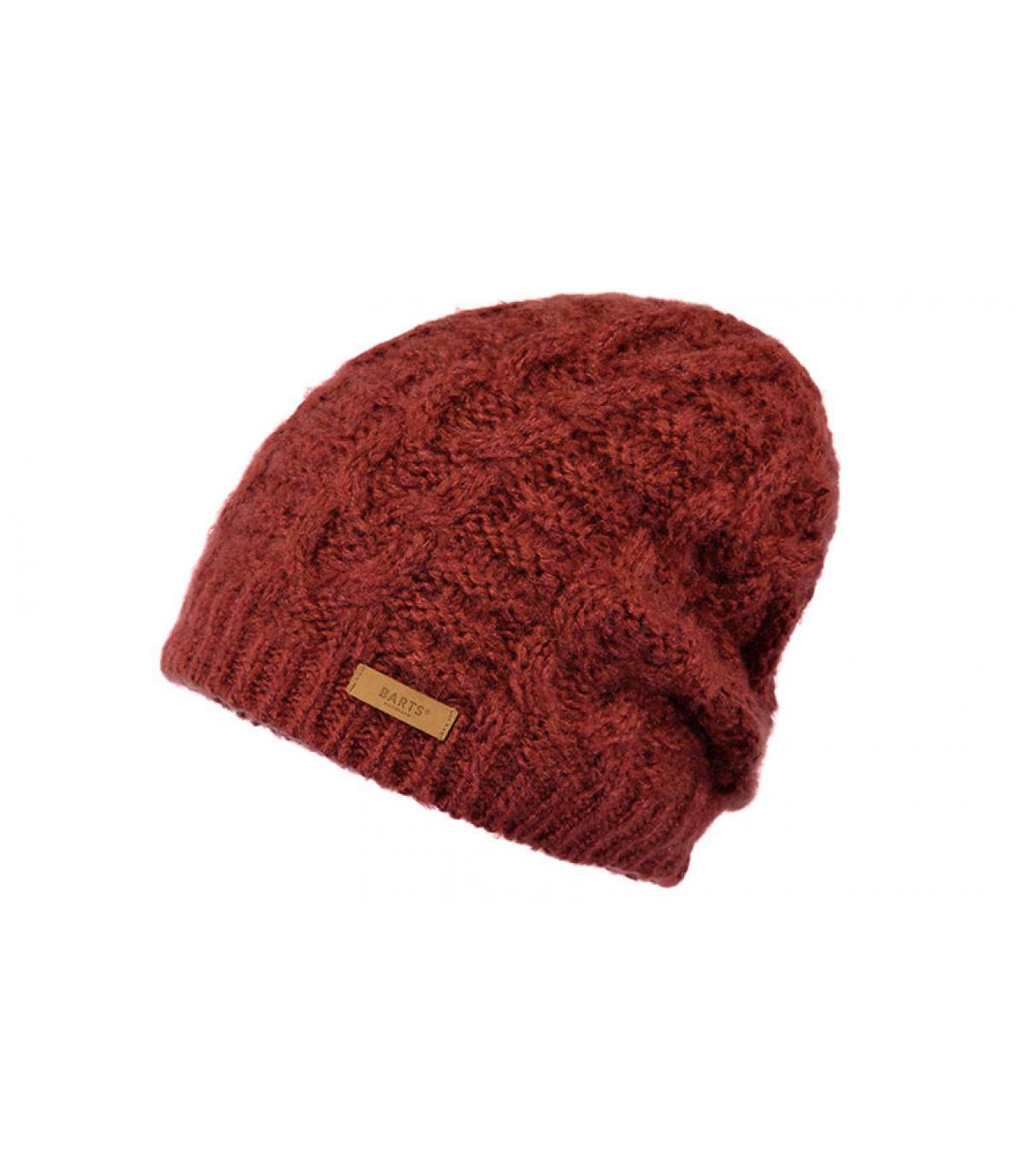 Mütze bordeaux Zopfmuster