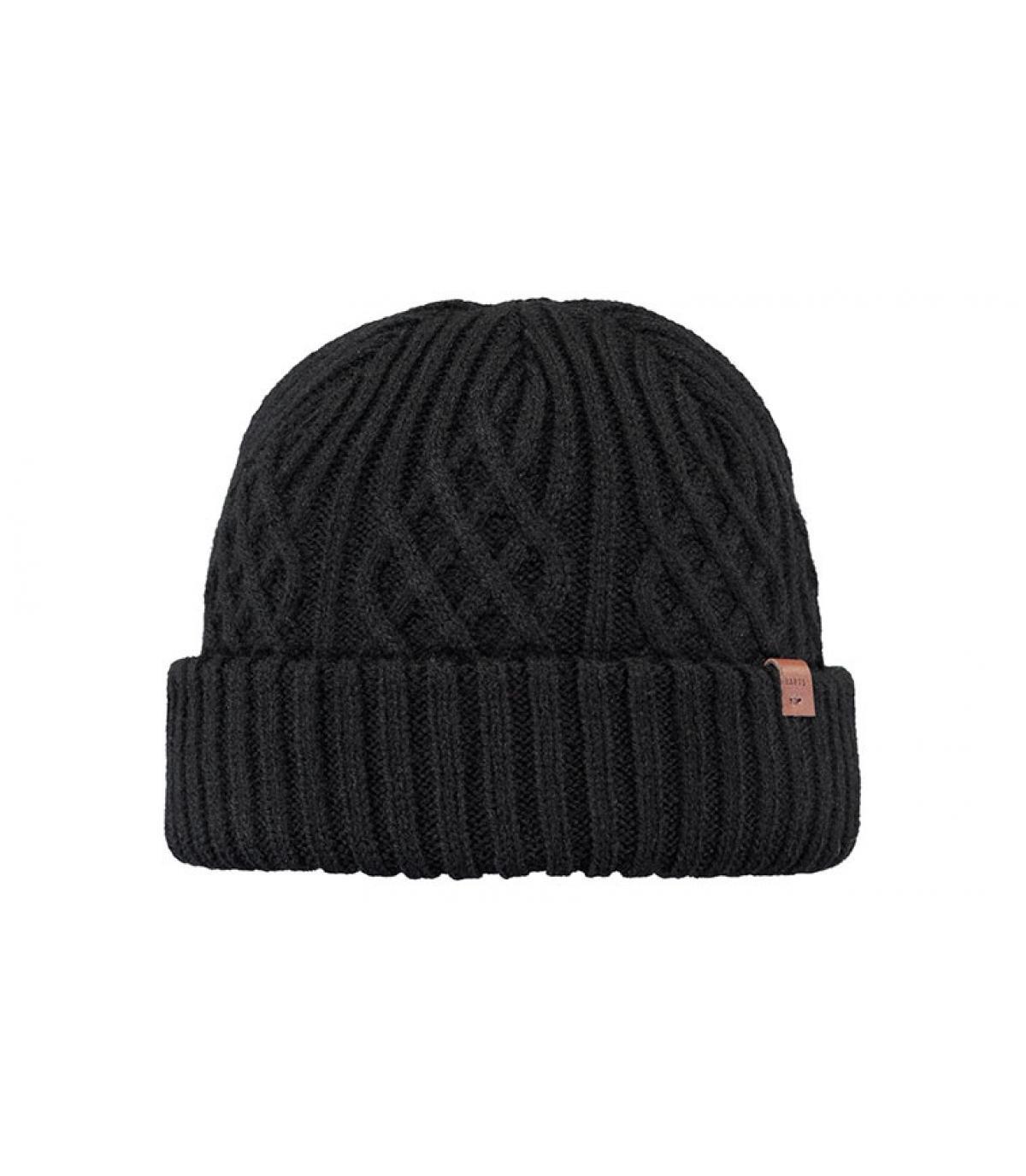 Docker Mütze schwarz Zopfmuster